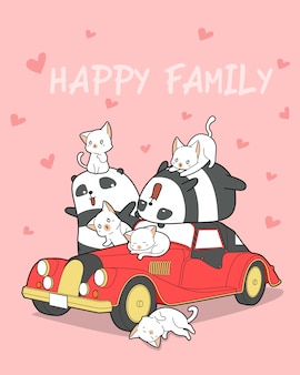 Animal family and red car.