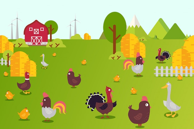 Animal farm collection  illustration. hens, ducks, turkeys and chicks in farmland yard. birds breeding in clean country
