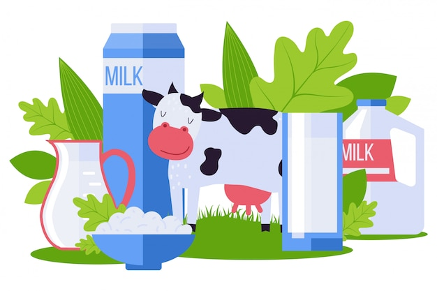 Animal farm, environmentally friendly dairy product collection  illustration. milk pack, cottage cheese in bowl, pet cow.