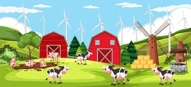 Animal farm on farm scene