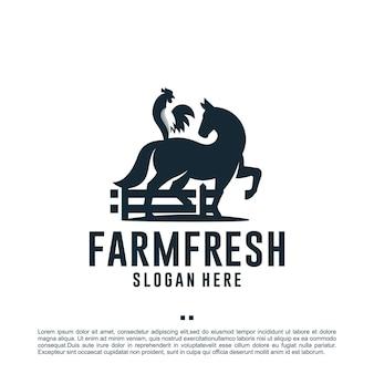 Животноводческая ферма, лошадь и петух, вдохновение для дизайна логотипа