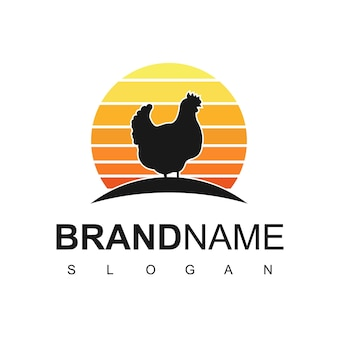 Animal farm logo, poultry logo design template