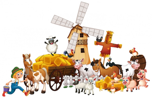 Animal farm with windmill cartoon style isolated