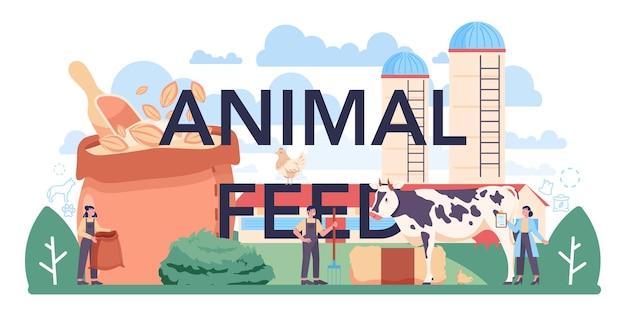 동물 사료 인쇄 상의 헤더입니다. 애완 동물 생산을 위한 사료 산업 생산. 개와 고양이 그릇과 음식 패키지. 농장 및 가축을 위한 식사. 격리 된 평면 벡터 일러스트 레이 션