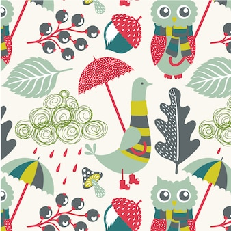 Animal floral leaves seamless pattern background vector