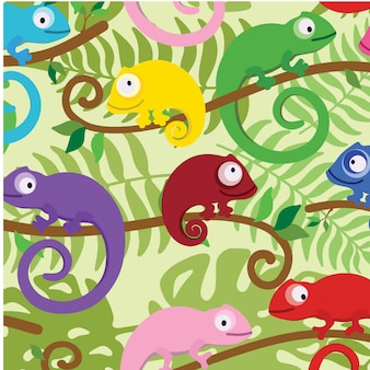 Animal floral leaves seamless pattern background