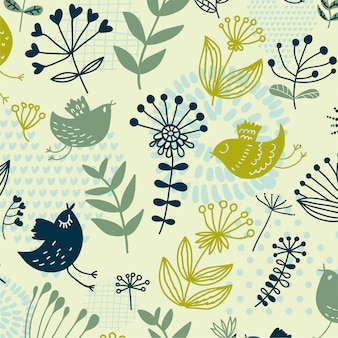 Animal floral leaves seamless pattern