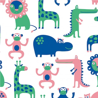 Animal floral seamless pattern background template