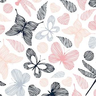Animal floral seamless pattern background vector