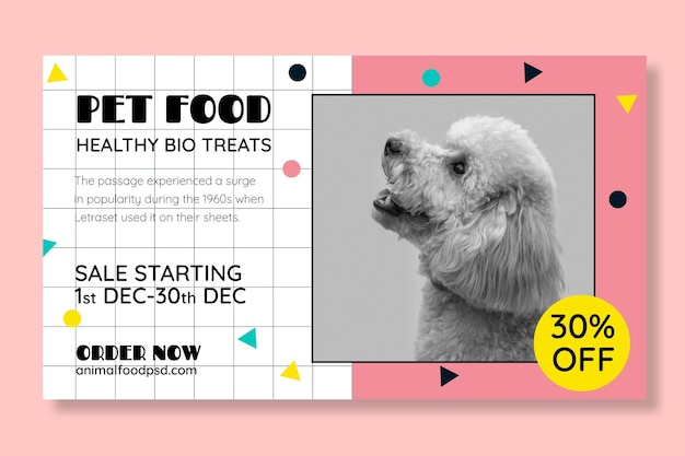 Animal food banner template with photo