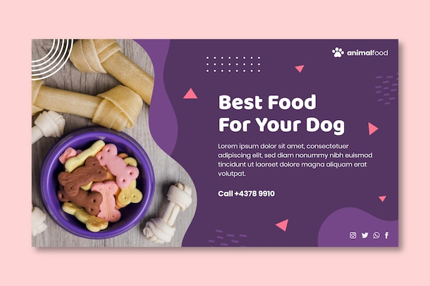 Animal food banner template Premium Vector