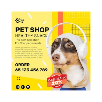 Animal food flyer square