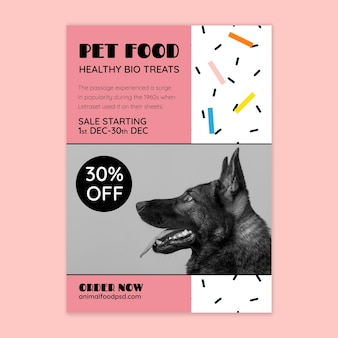 Animal food flyer template with photo