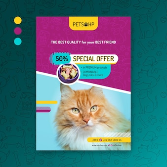 Animal food flyer template