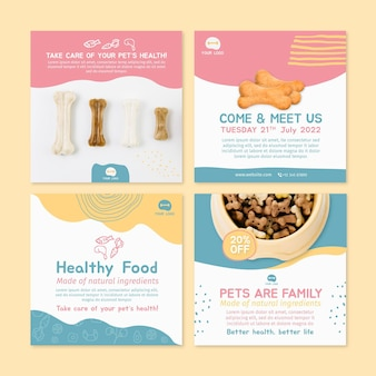動物向け食品instagramの投稿デザインテンプレート