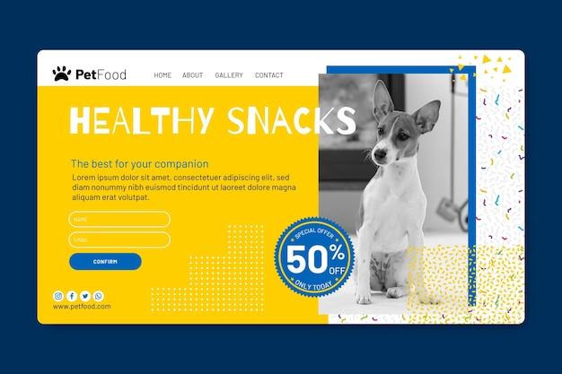 Modello di pagina di destinazione per alimenti per animali