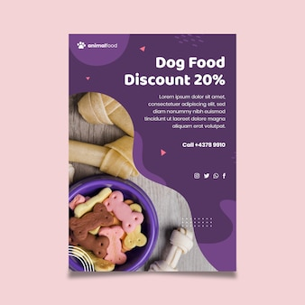 Animal food poster template with photo