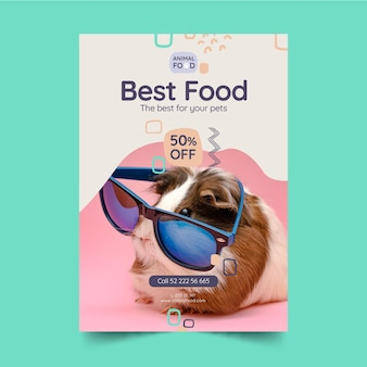 Animal food poster template