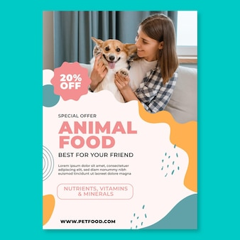 Animal food vertical flyer template