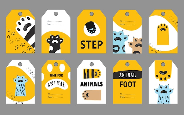 Animal foot tags set.
