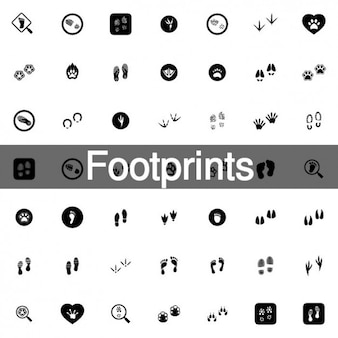 Animal footprints icon set