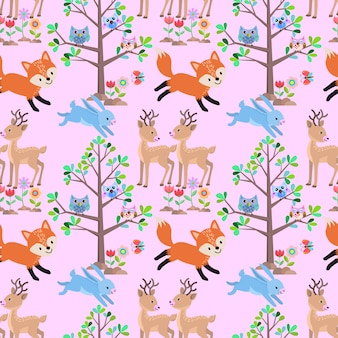 Animal in forest seamless pattern.