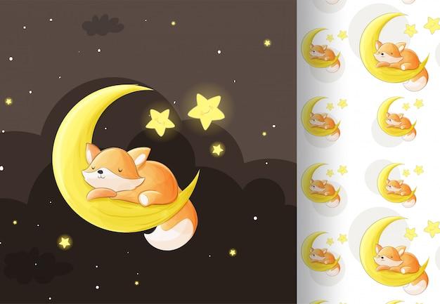 Animal fox sleeping on the moon
