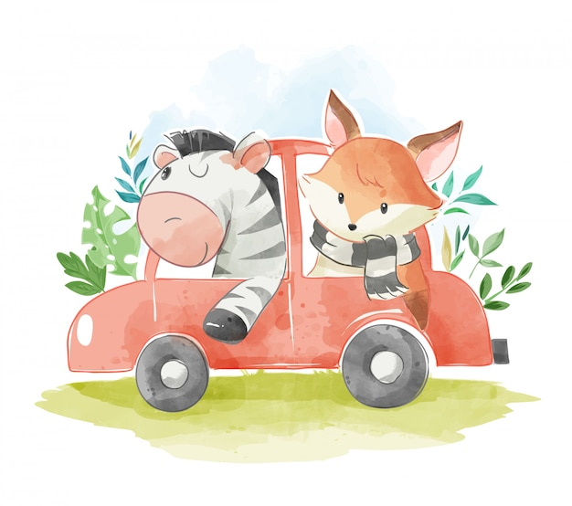 Animal friends in a car illustration