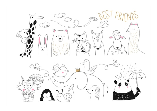 Animal friends collection illustration