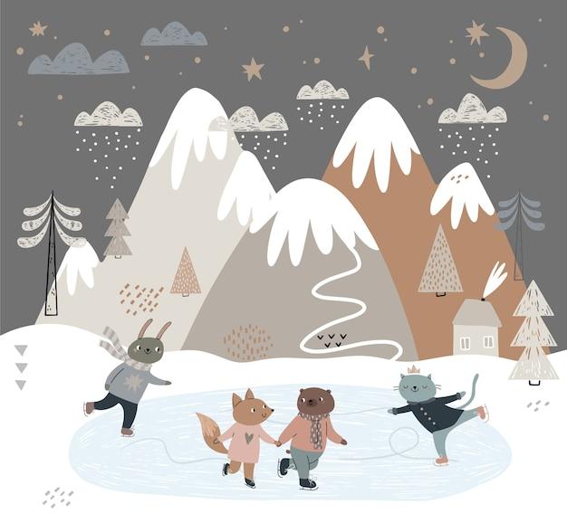 Друзья-животные катаются на коньках по льду. каток с видом на горы, облака, дом.