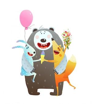動物の友情クマウサギフォックスハグ