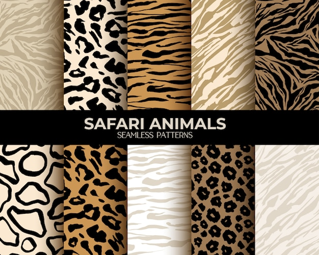 Animal fur print seamless patterns