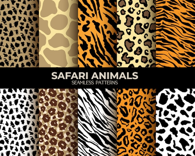 Animal fur seamless patterns leopard, tiger, zebra