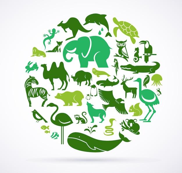 동물의 녹색 세계-아이콘 및 요소의 거대한 컬렉션 프리미엄 벡터