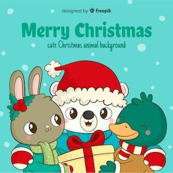 Animal group christmas background