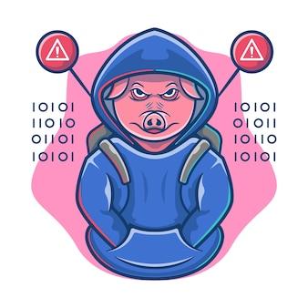 動物ハッカーマスコット漫画。豚プログラマーのロゴ。動物のイラスト。フラット漫画スタイル