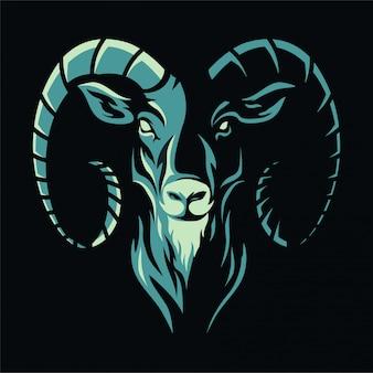 Голова животного - коза - талисман иллюстрации логотипа / значка