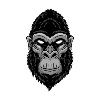 動物の頭のゴリラ、類人猿、猿。野生のロゴのベクターイラストです。編集可能なベクトル。