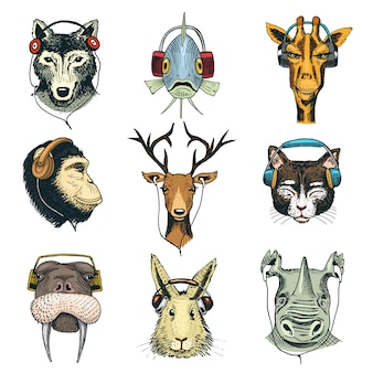 Animal head in headphones  animalistic character in earphones or headset listening to music illustration set of cartoon wild dj in headgear or earbuds isolated