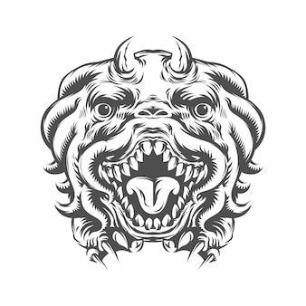 想像からの動物の頭のモンスター。図。創造的な描画。