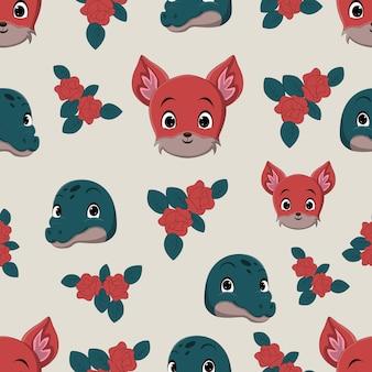 Animal head seamless pattern with fox and crocodile