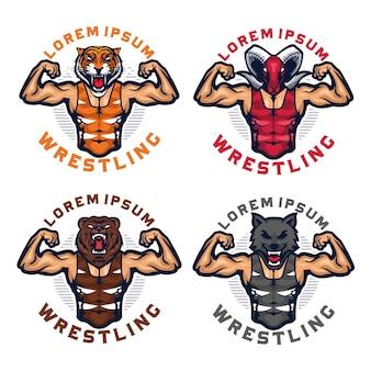 Animal head wrestling mascot