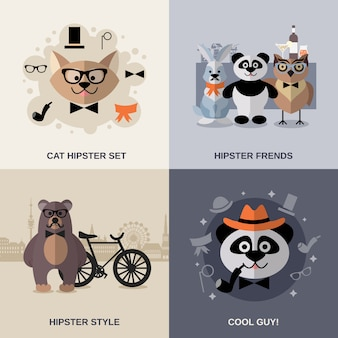 Набор животных хипстер