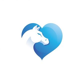 Animal horse head and love heart logo