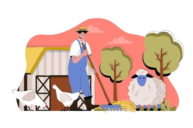 Иллюстрация веб-концепции животноводства с характером плоских людей