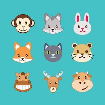 Набор значков животных