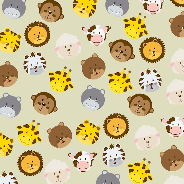 Animal icons over beige background vector illustration