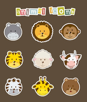 Animal icons over brown background vector illustration