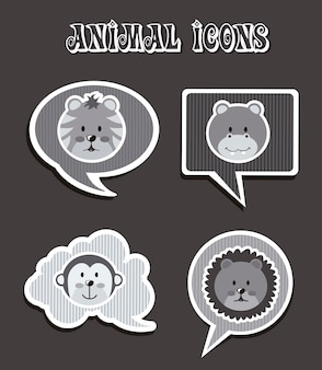 Animal icons over gray background vector illustration