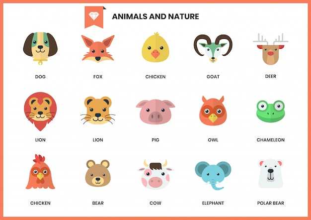 Animal icons set for business